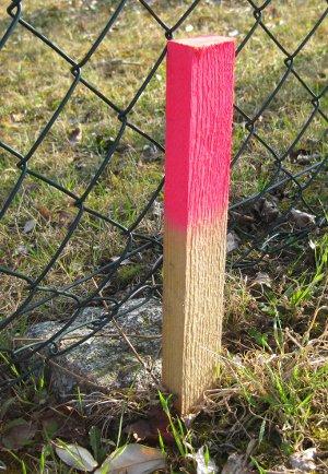 Vermessungspfosten für die Grundstücksvermessung