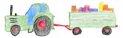 Mini Umzug mit Traktor und Rolle