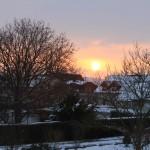 Sonnenaufgang - Blick aus dem Schlafzimmerfenster