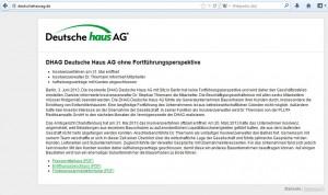 Insolvenzbekanntmachung auf der DHAG Webseite