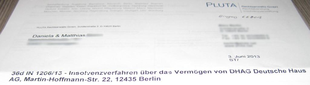 Brief des Insolvenzverwalters der DHAG