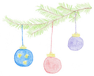 Weihnachtskugeln hängen am Christbaum