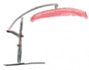 Schonnenschutz mit einem Ampelschirm